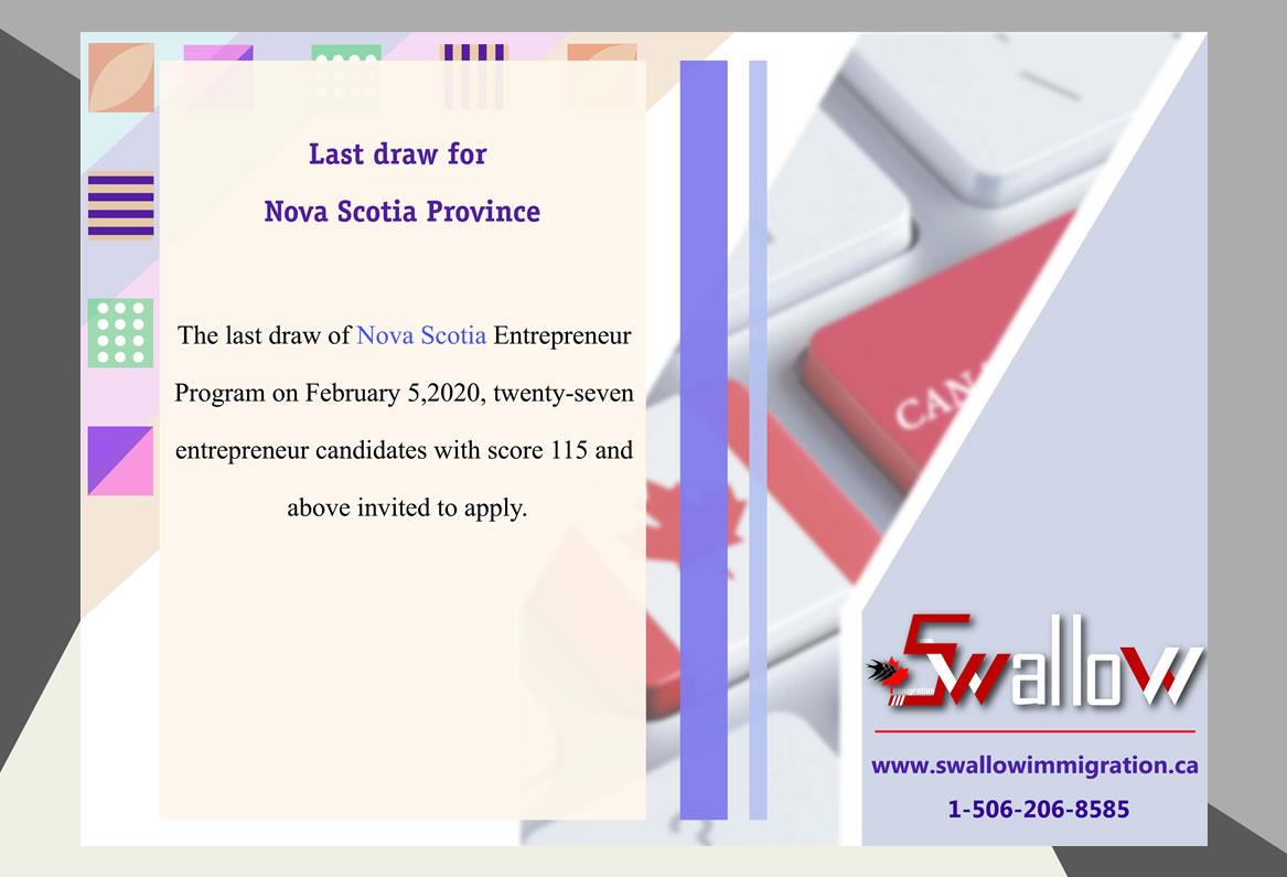 Last draw for Nova Scotia Province