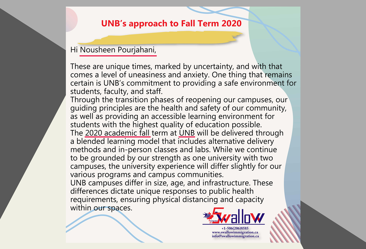 UNB's Fall Term 2020