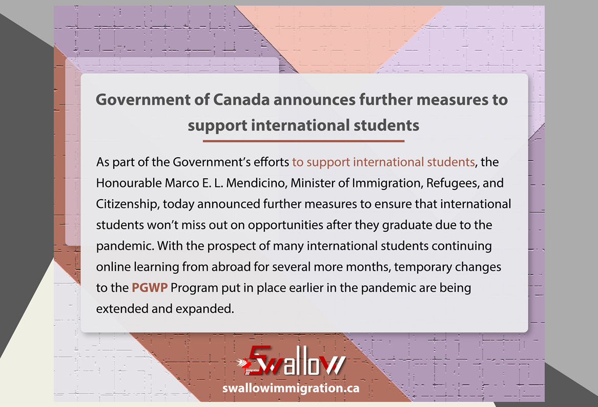 Government of Canada announces further measures to support international students