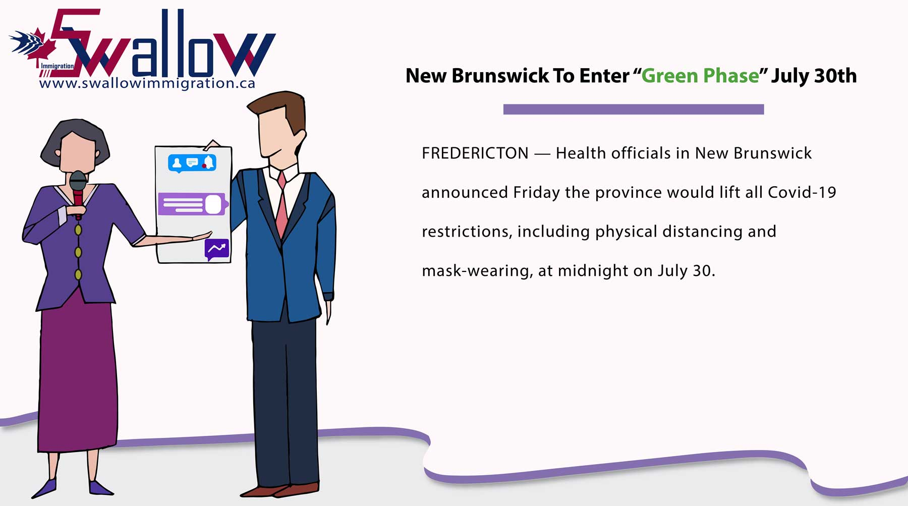 """New Brunswick To Enter """"Green Phase"""" July 30th"""