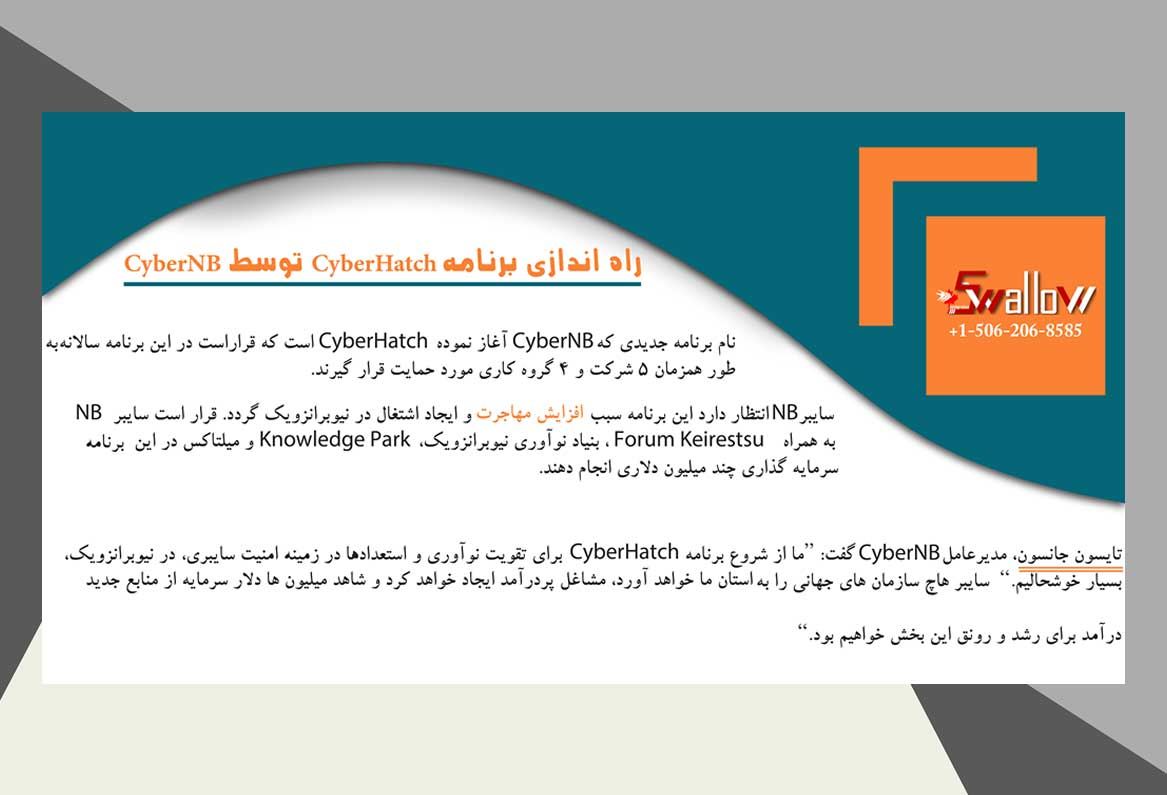 راه اندازی برنامه CyberHatch توسط CyberNB